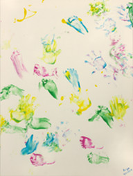 Abstract fingerpainting by baby