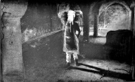 Black and white piece of someone with an elephant head standing in castle room with crumbling archways.  Deliberately blurry and with scratches outlining the figure.