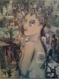 Collage in desaturated colours, background of gnarled trees and silhouettes of people. Central is a woman turning to face the viewer